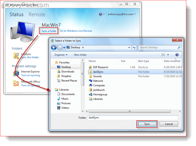 Syncing a Folder with Windows Live Sync Beta
