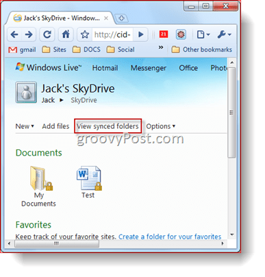 Viewing Synced Folders in your Skydrive