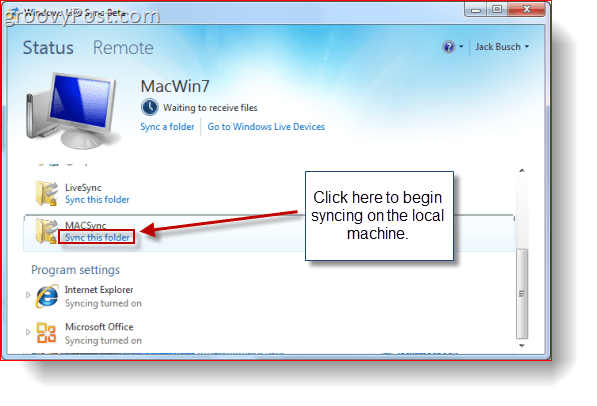Mac OS X Windows live Sync