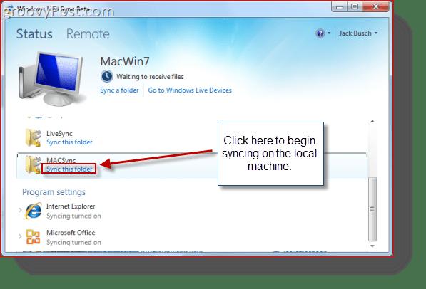 Mac OS X Windows live Sync