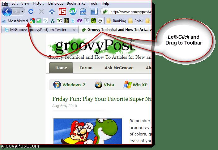 Drag Tab to Firefox Toolbar to create Bookmark