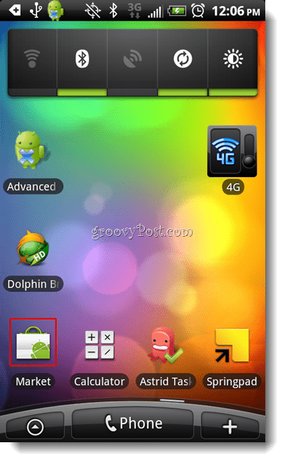 Android Home Screen - Launch Market