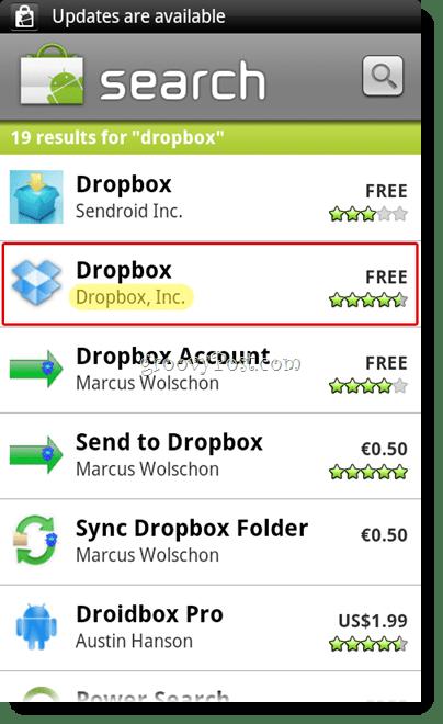 Android Dropbox Search Menu