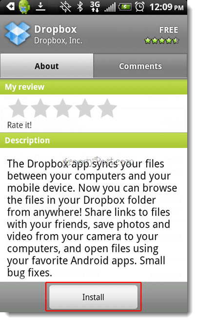Android Dropbox Install