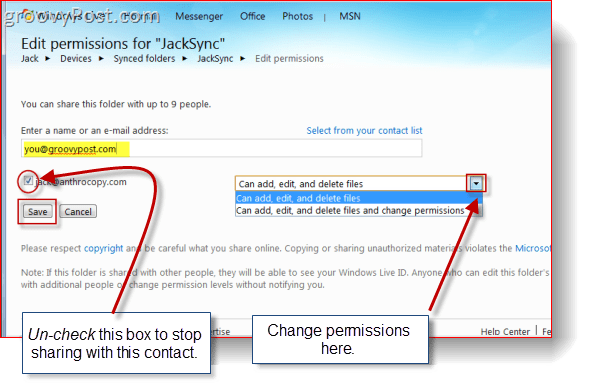 Changing Permissions in Skydrive