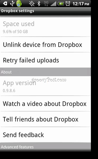 Android Dropbox Uninstall