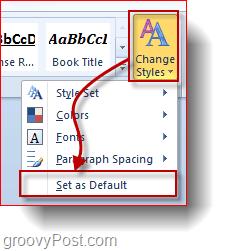 set style settings as default