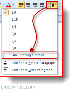 change office 2010 line spacing options