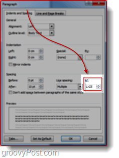 word 2010 line spacing settings