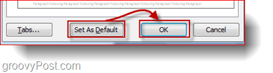 word 2010 line spacing set as default button