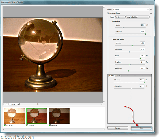 configure all the final settings to the HDR photograph