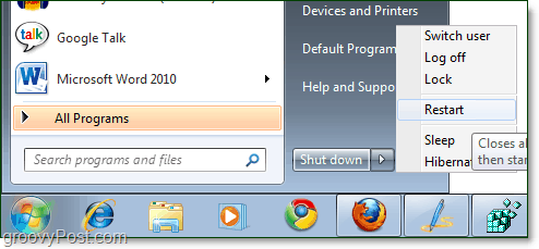 restart computer windows 7