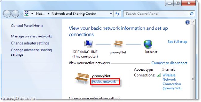 change what type of network windows 7 thinks its connecting to