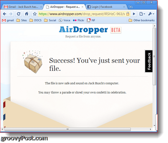 Dropbox Airdropper photo screenshot success file sent