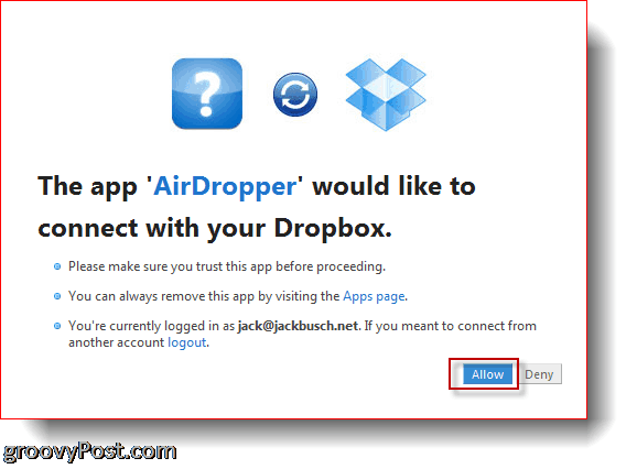 AirDropper Dropbox - connect app to Dropbox