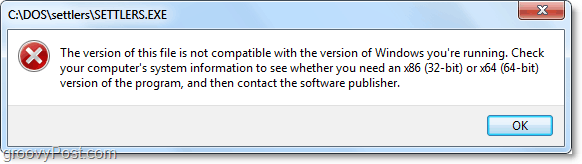 DOS program shows error in windows 7