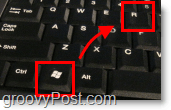 windows key + r