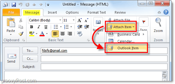 attach an outlook item to the email