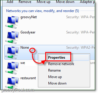 access the network properties window