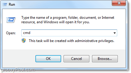 open cmd from the run dialog to automatically open it as an administrator