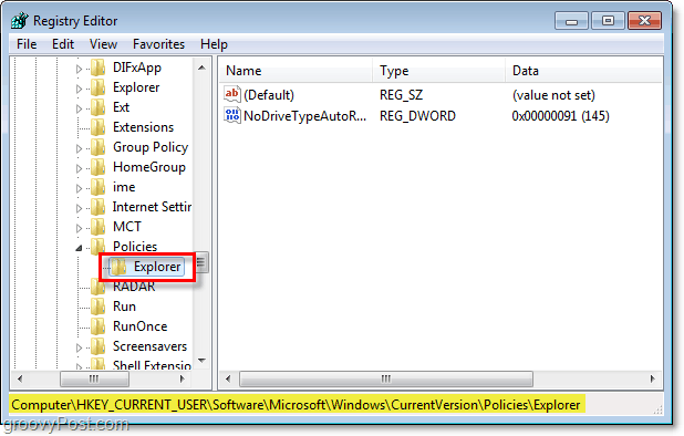 explorer key in registry editor