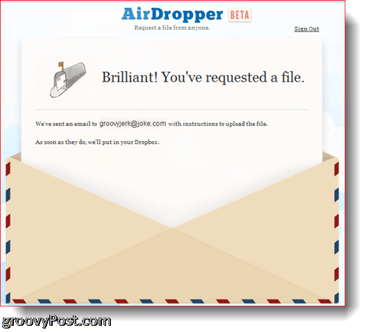 AirDropper Dropbox - File has been sent