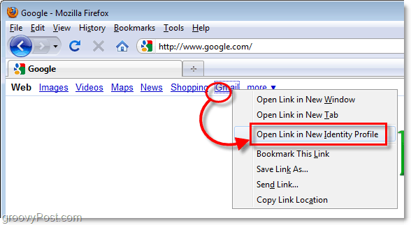 open link in a new identity profile firefox