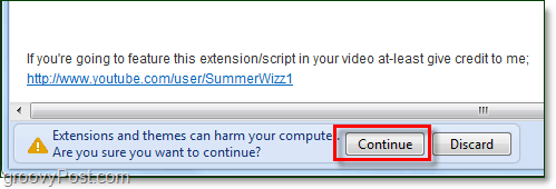 confirm the script installation in chrome