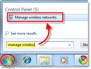 manage wireless networks start menu shortcut