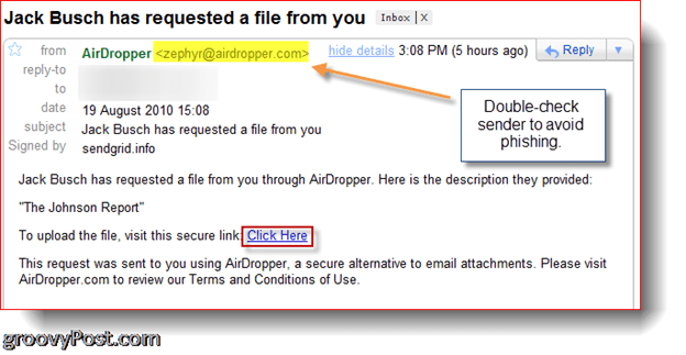 AirDropper Dropbox - Email requesting file