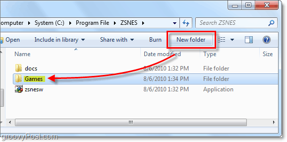 create a games folder in zsnes