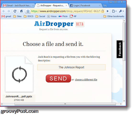 AirDropper Dropbox - Choose file to send