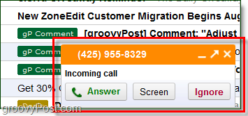 incoming google voice call in gmail