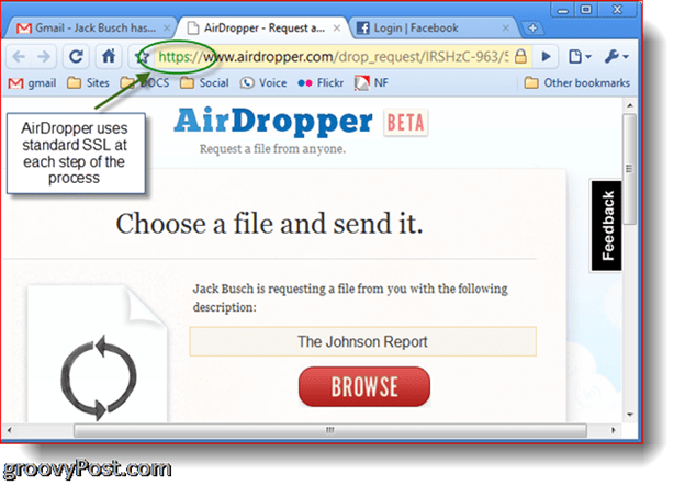 Dropbox Airdropper photo screenshot - choose a file
