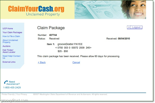 print confirmation page