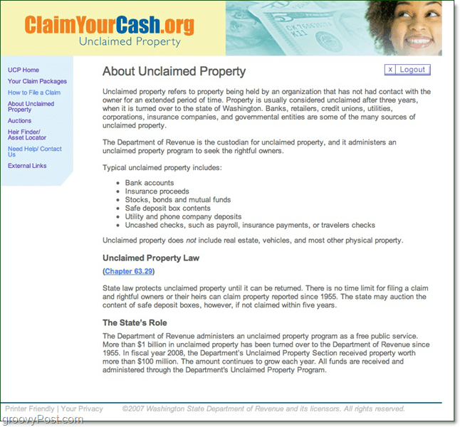 claimyourcash.org unclaimed property