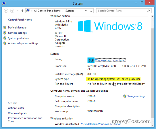 Windows 8 System Type