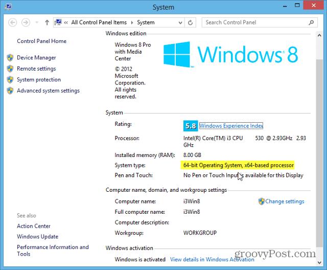 Windows 8 System Type