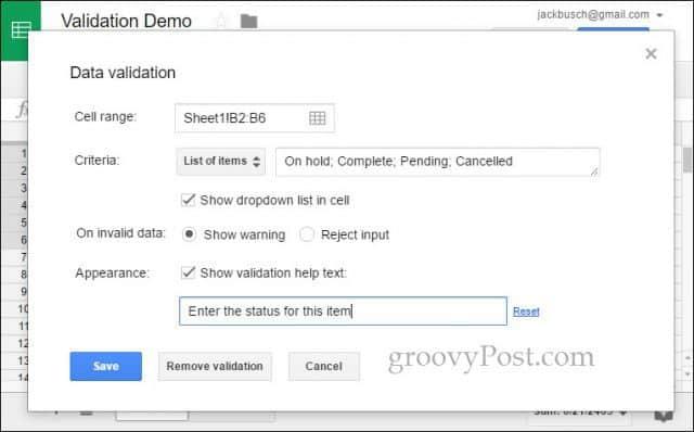 google docs data validation enter list items and help text