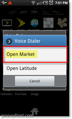 Open the Android App market by voice on android phones