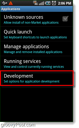Android Development Applications Settings