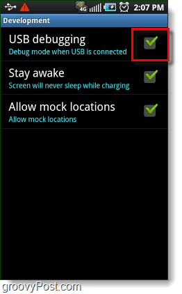 Android USB Debugging, Stay awake, and Allow mock locations