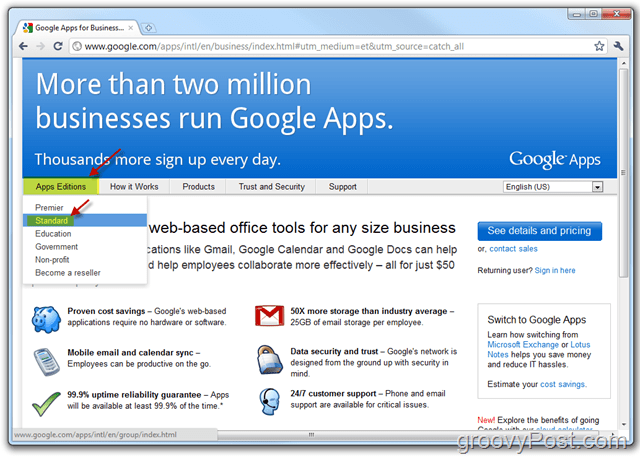 Google Apps Standard Edition Link
