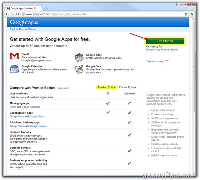 Google Apps Standard Edition Link Get Started
