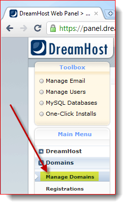 Manage your Domain at DreamHost