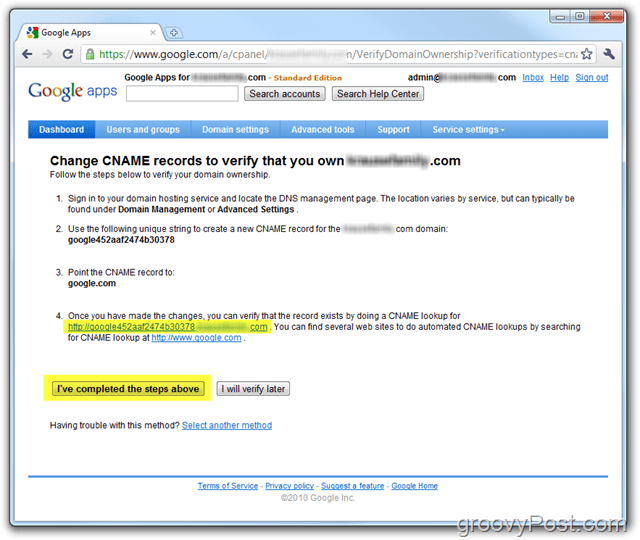 Google Apps CNAME Record to Verify Domain