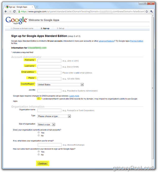 Google Apps Standard Edition Sign-Up Enter Domain