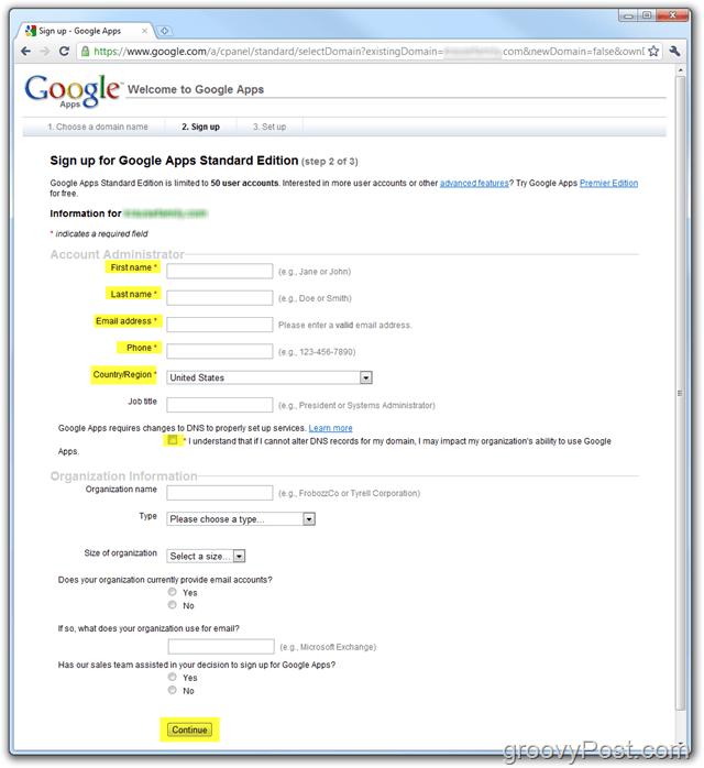 Google Apps Standard Edition Sign-Up Enter Domain
