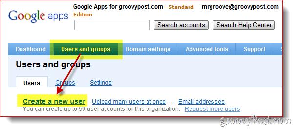 Google Apps Create User