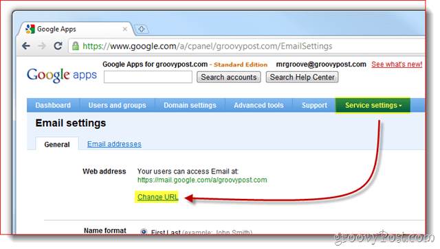 google apps service settings change url